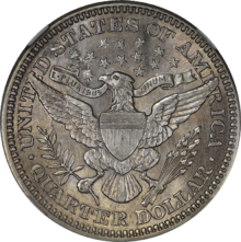 Barber Silver Quarter Reverse Design