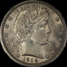 1914 Barber Silver Quarter Obverse