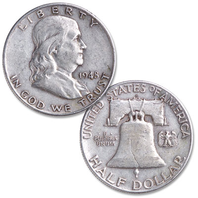 1948 Franklin Half Dollar Coin - Showing obverse and reverse